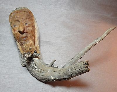 Unique Hand Carved Wood Head Sculpture - Made in Switzerland