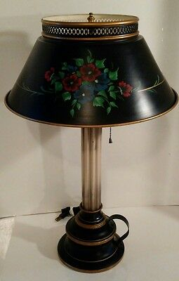 Vintage Large Black And Gold Tole toleware Lamp dual socket Excellent Condition