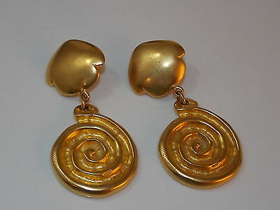 RLM Robert Lee MORRIS Chunky Gold Clip on Earrings Spiral 9f21