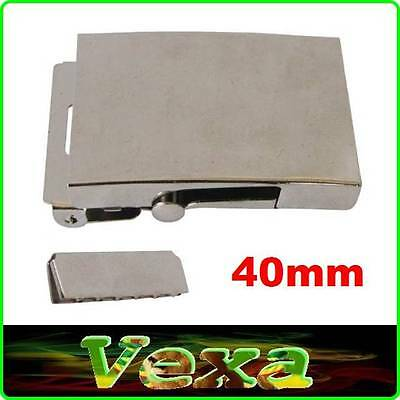 Metal BUCKLE Nickel plated for strap webbing 40 mm Silver Set with belt end PK05