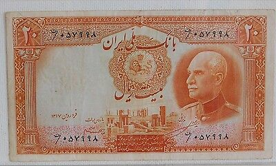 Iran 20 Rials Ah1317 1938  Au/unc Very Clean Note Cat# 34A