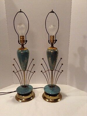 Pair Mid-Century Modern Turquoise w/gold Atomic Table Lamps NEAT
