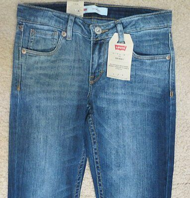 Levi's Levis Skinny Girls 14 SLIM Distressed Blue Denim Jeans Adjust Waist NWT