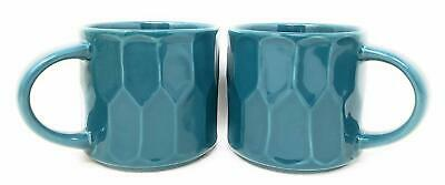 Lot Of 2! Starbucks Stacking Faceted Peacock Ceramic Mugs -14 oz. Each - NEW!