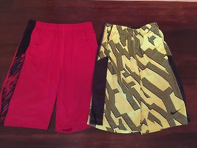 Lot Of 2 Boys Nike Dri Fit Athletic Shorts Large Red And Yellow