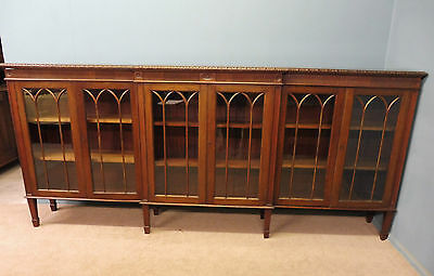 Long Antique Edwardian 6 Door Mahogany Bookcase Circa 1900
