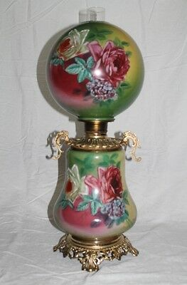 RARE Hand Painted Gone with the Wind Oil Lamp W/ ROSES ( GWTW Banquet Lamp)