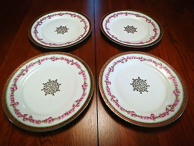 "4 Plates Imperial Crown China Austria Green Gold Trim Pink Roses 8 1/4 "" Plate"