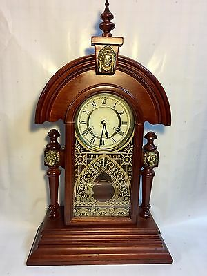 Beautiful Mantle/Wall Clock Key Wind 1/2 Hour Chime (Works)