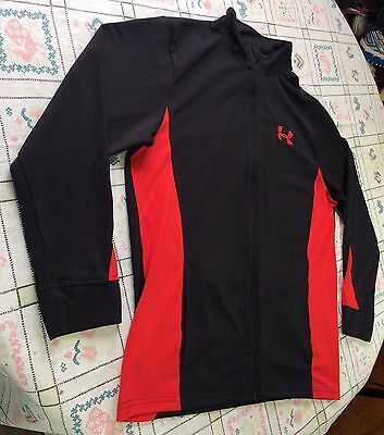 Black Red Boys Youth Xl Under Armour Zip Jacket Coat Lightweight Euc Pockets
