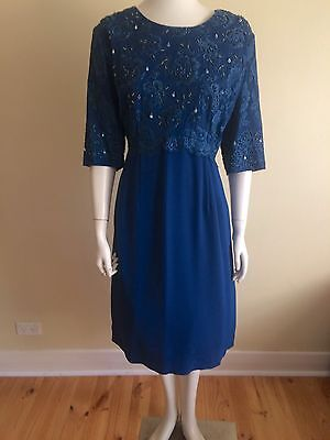 Orginal Vintage 50s 60s Beaded Dress , XL , Rockabilly Swing  Pinup , Cocktail