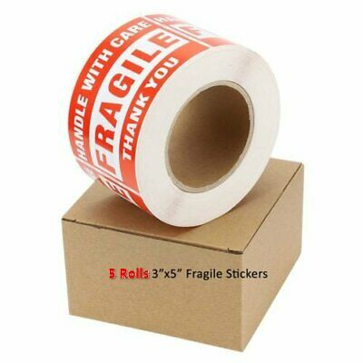 5 Rolls 500/Roll Large 3x5 Fragile Handle with Care Thank You Labels Stickers