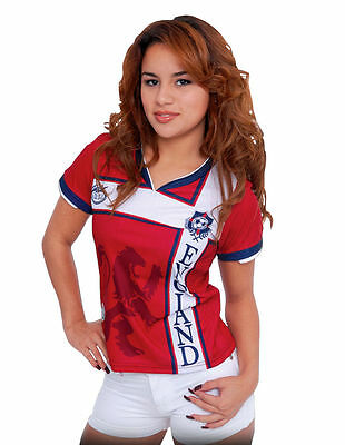 England Women Arza Soccer Jersey 100% Polyester. color Red and White