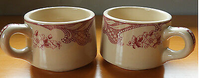 2 Vintage Shenango Inca Ware Restaurant Mugs Rose Point - Very Nice!