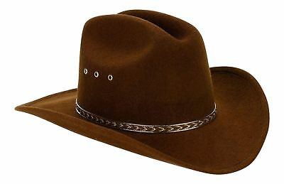 Western Child Cowboy Hat For Kids Brown One Size (Elastic Band) New