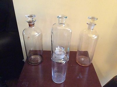 Lot of 4 Antique Drug Store Pharmacy Apothecary Glass Jar/Bottles