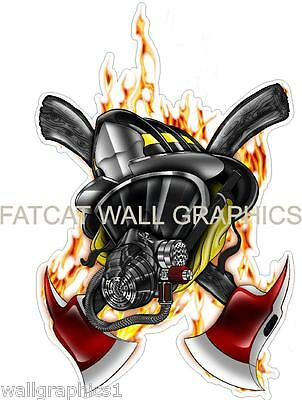 Fatcat Wall Graphics Fireman's Helmet & Mask Removable Decal Cling Sticker Art