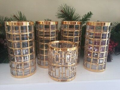Mid Century Toril de Oro, embossed 22k gold High Ball Glasses ( Set of 8)