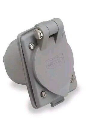 HUBBELL WIRING DEVICE-KELLEMS HBL61CM64 Flanged Inlet,15A,5-15P,125V G3389285