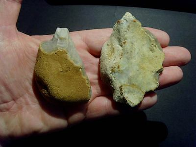 Lower Palaeolithic - 2 Mousterian/ Acheulean points  -  Rare UK C.350,000+ BP