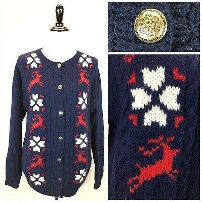 S40 Vtg 80s Eddie Bauer Sz S 100 Wool Cable Knit Cardigan Sweater