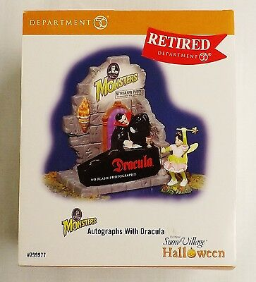 Department 56 Snow Village Halloween AUTOGRAPHS WITH DRACULA in Box