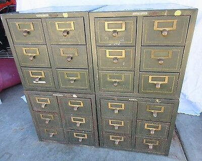 Set 4 Vintage GLOBE WERNICKE Metal Library File Cabinets Industrial Salvage Chic