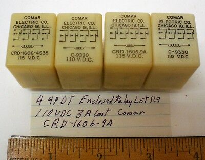 4 Enclosed Relays 110 VDC 3A Cont.4PDT, COMAR #CRD-1606-9A  Lot 119, Made in USA