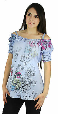 Blue Short Sleeve Floral Sheer Maternity Sublimation Tee Womens Blouse New