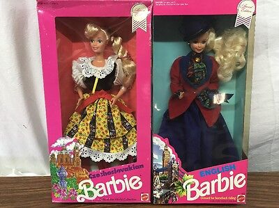 Czechoslovakian & English Barbie Dolls of the World Collection New in Boxes