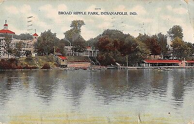Inidanapolis Indiana view of Broad Ripple Park towards shore antique pc (Z37942)