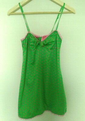 Victoria's Secret Pout Womens Small Green Satin Pink Babydoll Chemise Lingerie