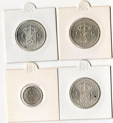 Lot of Netherlands Silver Coins 1 Gulden 1938 1939 1940 + bonus