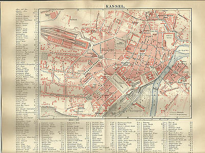 1887 Kassel Deutschland Alte Landkarte Karte Antique Map Lithographie