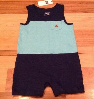 Baby Gap Boys 6-12 Months Navy Blue & Teal Shorts Romper.nwt