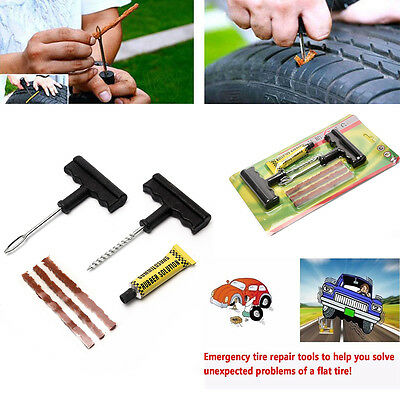 Tubeless Tyre Tire Puncture Repair Plug Kit Needle Patch Fix Tools Cement Use z