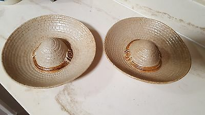 Vintage Pottery Craft Made in USA Sombrero serving dish Set of 2