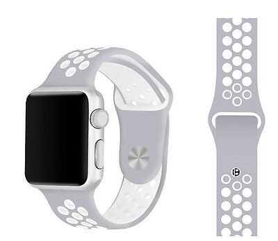 Silicone Rubber Wristband Strap For Apple i-Watch Size 42mm - Grey White