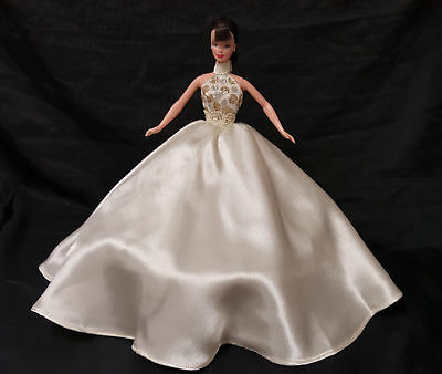 OOAK Barbie Doll Handmade Glam Fashion Ivory Halter Ball Gown Outfit Clothes