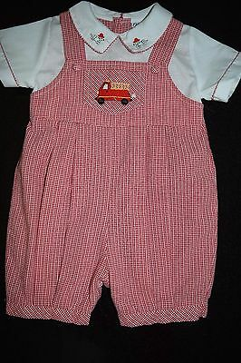 Friedknit Creations Baby Boy Size 12 Months Summer Romper Fire truck & Dalmation