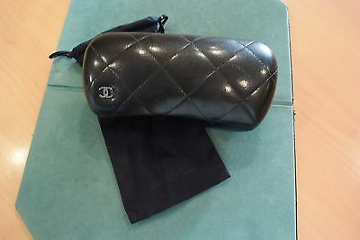 Chanel Hard Sunglasses Case Solid Black with soft cloth storage bag for sunglass