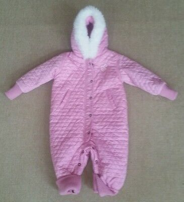 Girls Rocawear Pink 1 Piece Hooded Lined Winter/Snow Suit Size 18 Months - EUC
