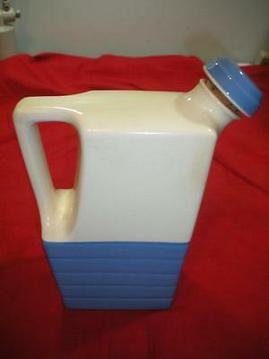 Vintage Universal Potteries Art Deco Blue and White Pitcher with Cork