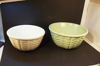 2 Vintage ROBINSON RANSBOTTOM POTTERY MIXING BOWLS RRP Green White Waves Pattern