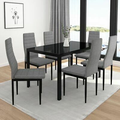 """Contra"" Collection 7pc Dining Set--Dinette 6 Chairs & 1 Table Pack in 2 colours"