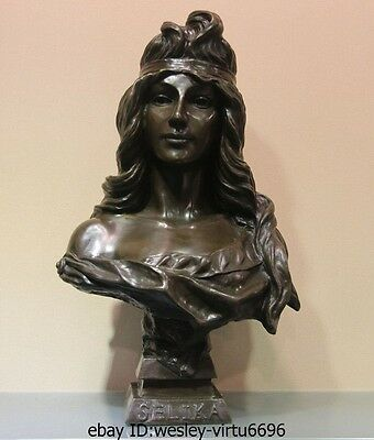 Bronze Sculpture SELIKA Young Woman Art Deco Figurine Statue Marble Base Figure