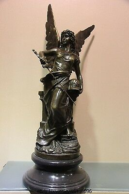Art Deco Figurine Marble Base Bronze Copper Goddess of Victory Sculpture Statue
