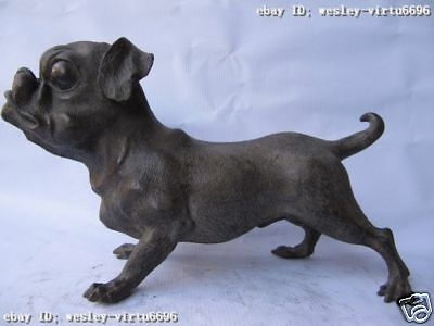 7.5 Chinese classic pure bronze copper Carved lucky Pekinese Dog art Statue