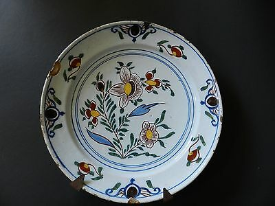 Antique Dutch Delft Plate Polychrome Charger 9 Inches Diameter