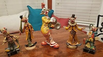 Lot of 5 Vintage Resin Clown Figurines  Handmade in Italy Mic Norleans Fontanini